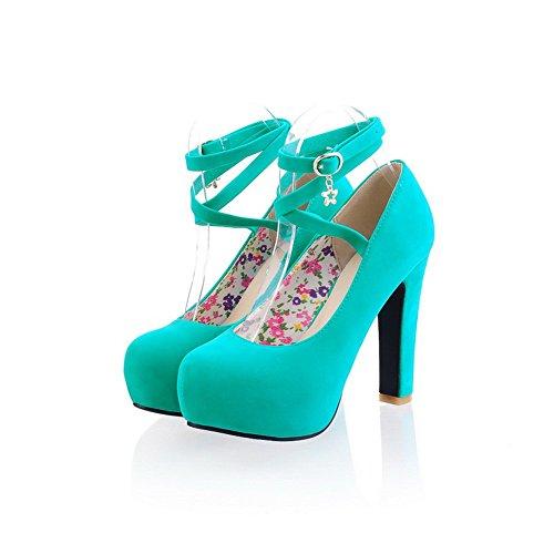 solide avec Hauts Femme balamasa Bleu Chaussures boucle Talons Pompes qwFBqUtXW