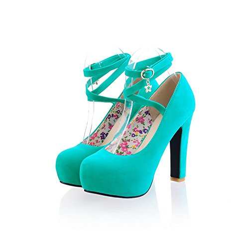 Balamasa Womens Buckle High Heels Solid Pumps Shoes Blue tepRsq