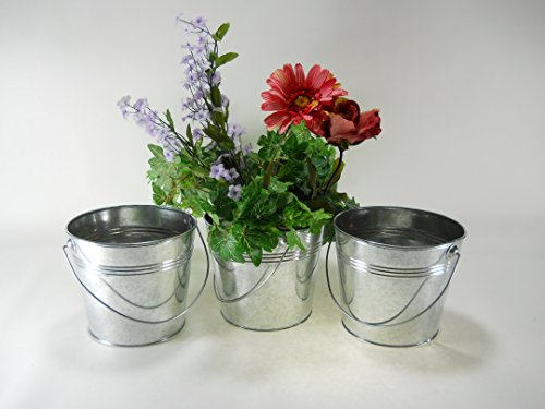 3 pc set 5 1/2 Tall 2 Qt Galvanized Pail/bucket with ridges by DC Mach
