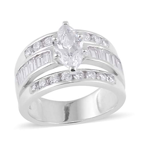 925 Sterling Silver Marquee Cubic Zirconia CZ Engagement Statement Ring for Women Size 7 Cttw 2.9