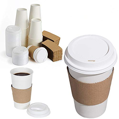 100 Count 16 oz To Go Coffee Cups with Sleeves and Tight Lids Prevent Leaks White Paper Hot Cold Cups Disposable Coffee Beverages Cups Multipurpose Party Cups for Hot and Cold Drinks