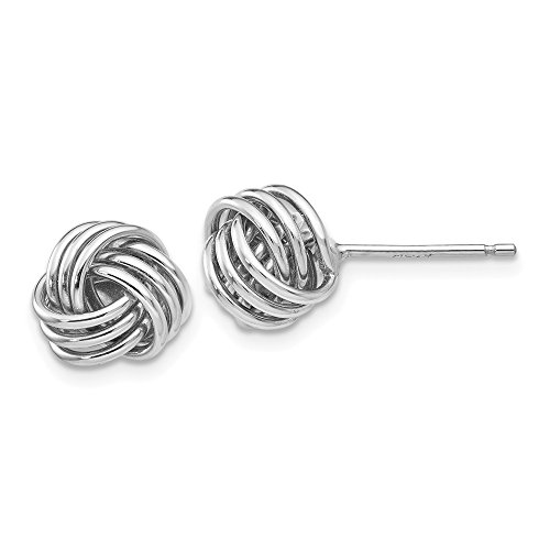 14kt White Gold Ridged Love Knot Post Earrings by Perfume4All