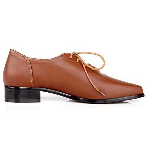 TAOFFEN Heel Low Women's 6021 Brown Pumps Simple gqarTg