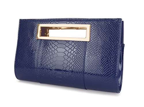 Hoxis Classic Crocodile Pattern Faux Patent Leather Cut it out Clutch with Chain Shoulder Strap Womens Handbag (Navy) (Blue Patent Leather Bag)