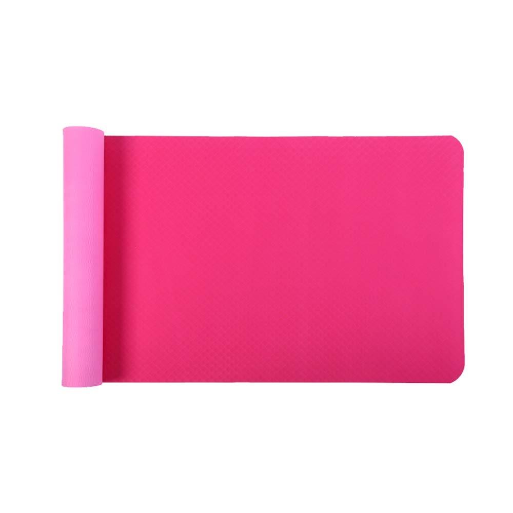 XF ヨガ マット ヨガマット - 両面滑り止め、環境に優しい、無味、厚くなる、ロングヨガ、フィットネスマット、フロアマット、サイズ:183cmX61cm フィットネストレーニング (色 : Vibrant Orange) B07MS7P73T ピンク ピンク