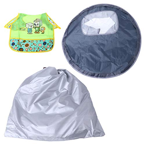 Baby Eating Table Mat Waterproof Round Folding Infants Pad Chair Cushion Anti-Slip Floor Splash Mat ()