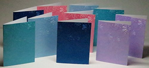 - Handmade Daisies & Dotted Swirls Embossed Note Cards, Asstd Pearl Colours, 300gsm English Cardstock, Set of 10 Cards & White Envelopes - 1 set in stock, more colours