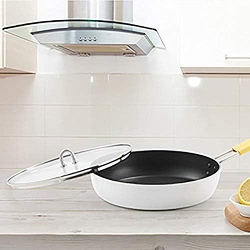 AXAA Série de Porcelaine Blanche en Alliage d'aluminium antiadhésif Wok poêle à Soupe Pot à Soupe Moins de fumées en céramique extérieure