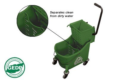 O-Cedar Commercial Maxi Plus Mop Bucket and Wringer, Green (Plastic Double Pail Buckets)