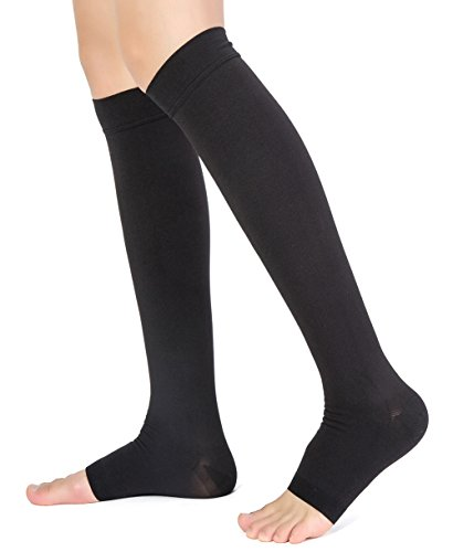 Knee High Compression Stockings, TOFLY Firm Support 20-30mmHg Opaque Maternity Pregnancy Compression Socks, Open-Toe, Ankle & Arch Support, Swelling, Varicose Veins, Edema, Spider Veins. 1 Pair BlackM