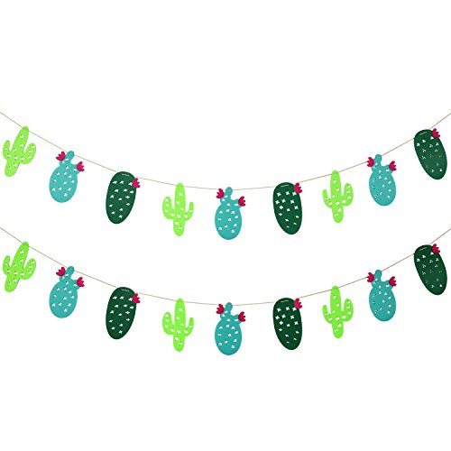 Bememo 2 Sets Cactus Banner Garland Party Supplies Fabric Garland Banner for Tropical Party Festival Hawaii Luau Decoration