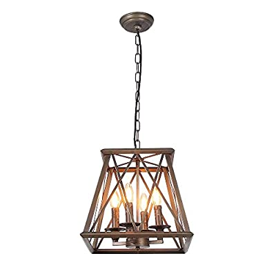 Metal Pendant Lamp Bronze&Black Finished Retro Rustic Vintage Industrial Edison Hanging Light Fixture Ceiling Lamp Chandelier
