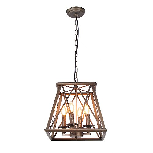 Eumyviv C0026 4-Lights Trapezoid Metal Pendant Lamp Bronze Finished Retro Rustic Vintage Industrial Edison Hanging Light Fixture Ceiling Lamp Chandeliers