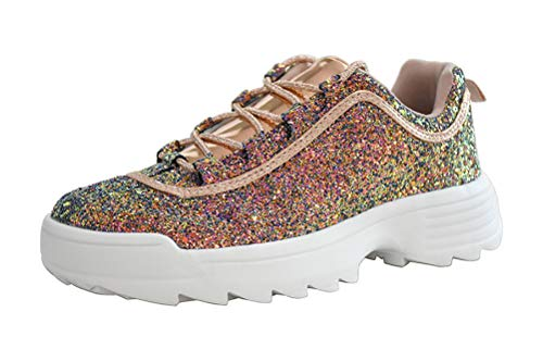 LUCKY-STEP Sneakers for Women Glitter Non-Slip Outdoor Running Shoes - Footwear Choice (7 B(M) US, Gold Multi) ()