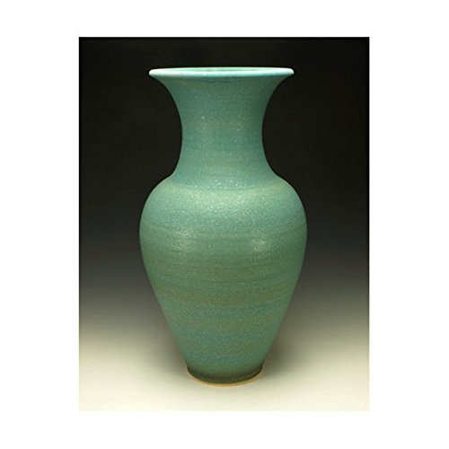 Large Pottery Vase. Turquoise Copper Matte Glaze.