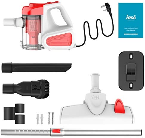 INSE Vacuum Cleaner Corded 18KPA Powerful Suction Stick Vacuum Cleaner Handheld Corded Vacuum Cleaner Multipurpose 3 in 1 Vacuum with 600W Motor I6 Red