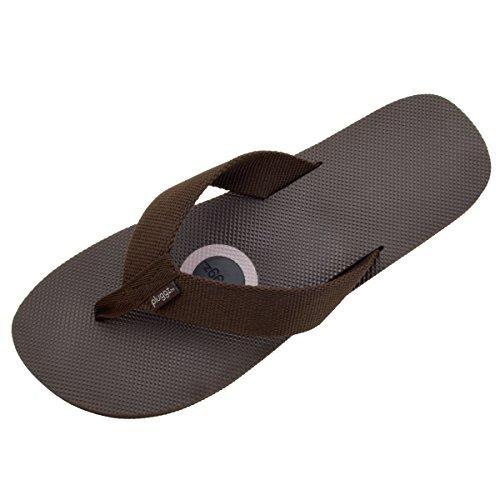 pluggz Maui Men's Brown Woven Strap Flip Flop 13 M (Brown Woven Strap)