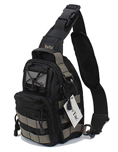 TravTac Stage II Small Sling Bag, Premium Everyday Carry Tactical Sling Pack 900D (Gray on Black)
