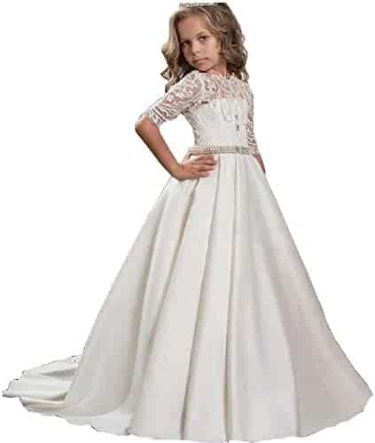 e84c36d96d HEVECI Half Sleeves Princess Flower Girl Dress for Wedding Party Christmas  First Communion Dress