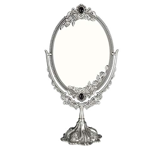 - WCJ Nordic Style Antique Pewter Double-Sided Retro Bedroom Vanity Mirror Desktop Vanity Mirror (Size : L)