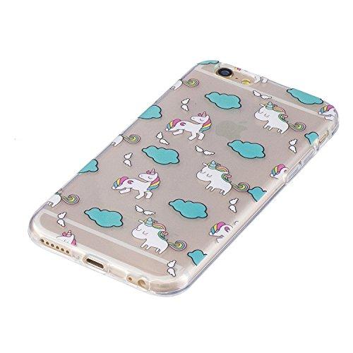 iPhone 6 Plus / 6S Plus Coque,licorne mignon Premium Gel TPU Souple Silicone Transparent Clair Bumper Protection Housse Arrière Étui Pour Apple iPhone 6 Plus / 6S Plus + Deux cadeau