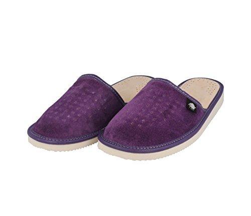 Ecoslippers Suede Touch Green, Damen Durchgängies Plateau Sandalen mit Keilabsatz, Violett - Violett - Größe: 37