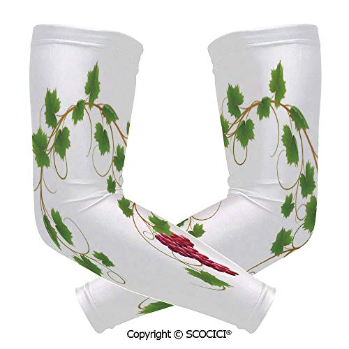 Comfort and Durable Lightweight Arm Guard Sleeve Curved Ivy Branch Deciduous Woody Wines Seed Clusters Cabernet Kitchen Breathable, Flexible Sleeves Protection