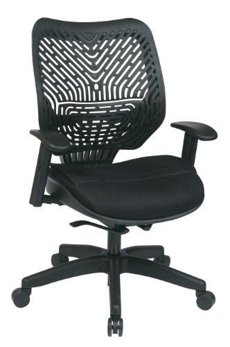 SPACE Seating REVV Self Adjusting SpaceFlex Ice Backrest Support and Padded Shadow Mesh Seat with Adjustable Arms and Platinum Finish Base Managers Chair