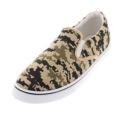 Doug Mens Slip On Shoes,Casual Skate Canvas Sneakers,Slipon Men's Boat Deck Shoe Camouflage 9.5W US ()
