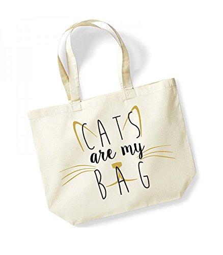 Cats Are My Bag - Large Canvas Fun Slogan Tote Bag Natural/Black