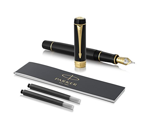 PARKER Duofold Centennial Fountain Pen, Classic Black with Gold Trim, Medium Solid Gold Nib, Black Ink and Convertor (1931382)]()