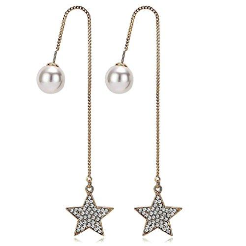 Adisaer Threader Earrings Star CZ Pearl Earrings Dangle for Bridal Women Earrings Gold Plated