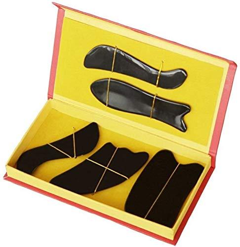 HSLBQFQ 5Pcs Traditional Acupuncture Massage Tool Set Gua Sha Guasha Board Set Black