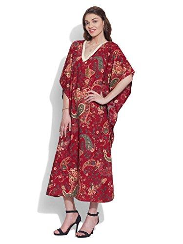 Dames Plage Couvrir Caftan Longue Robe Caftan Coton Imprimé Marron Maxi Chemise De Nuit