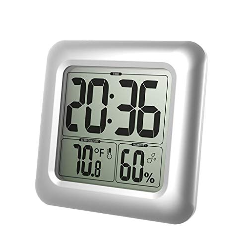 YUNAWU Waterproof Digital Bathroom Shower Wall Clock Thermometer Humidity Time Display