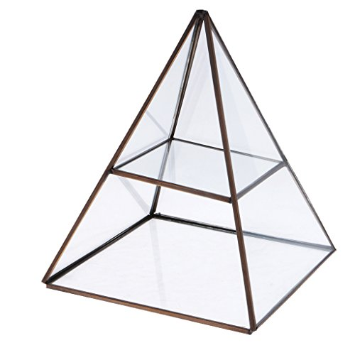 Crystal Display Box - MonkeyJack 2 Tiers Clear Pyramid Glass Jewelry Trinket Box Display Holder Storage Organizer - Antique Bronze