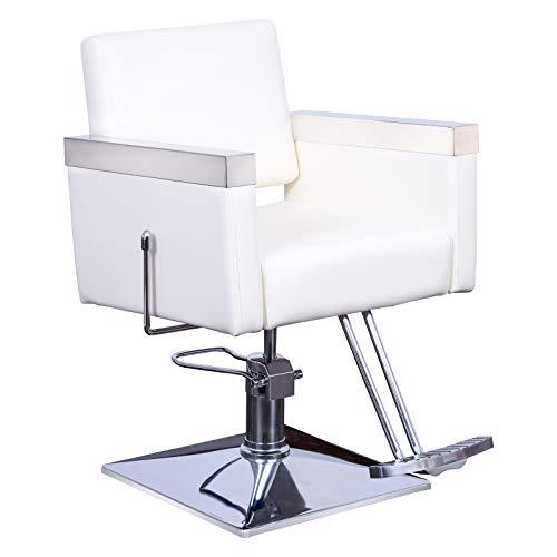 BarberPub Classic Recline Hydraulic Barber Chair Salon Spa Chair Hair Styling Beauty Equipment 3021 (Creme White)