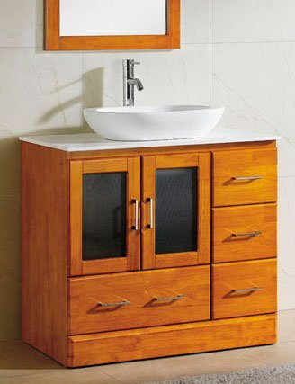 Etonnant 36u0026quot; Bathroom Vanity Cabinet White Tech Stone (Quartz) Vessel Sink  M3621M Cinnamon
