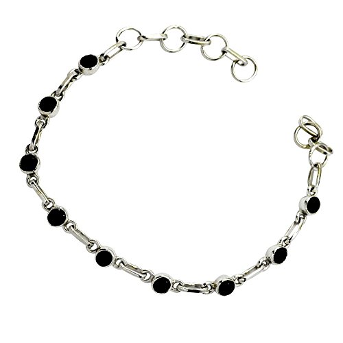 Jewelryonclick Natural Balck Onyx Silver Link Bracelets For Women Gift Available In Size 6.5,7,7.5,8 Inch