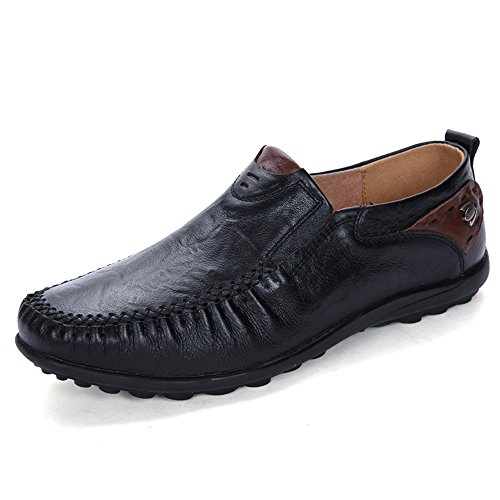 MOHEM Men's Premium Genuine Leather Fashion Slipper Casual Slip On Loafers Shoes(8117Black45)