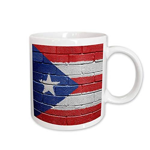 3dRose mug_156970_2 National Flag of Puerto Rico Painted Onto a Brick Wall Rican Ceramic Mug, 15-Ounce
