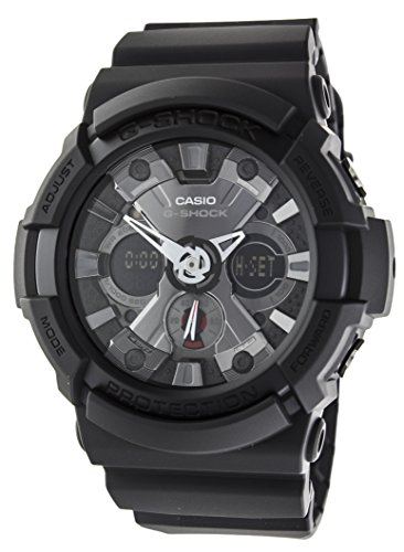 (Casio GA-201-1AER Mens G-Shock World Time Black Chronograph Watch)