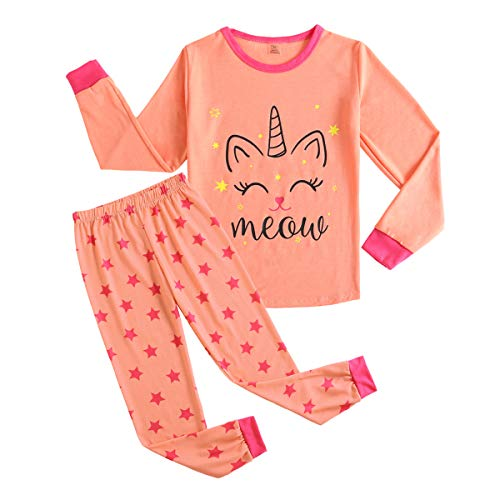 MyFav Big Girls Cute Cartoon Print Pajamas Kids Cotton Long Sleeve Sleepwear PJS ()