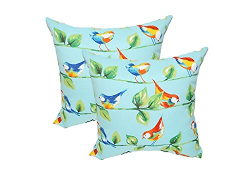 Set of 2 - Indoor / Outdoor Square Decorative Throw / Toss Pillows - Richloom Solar Outdoor Sky Blue Curious Birds - Choose Size (24'' x 24'' ) by Resort Spa Home Decor