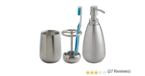 mDesign Juego de 3 Accesorios para baño – Conjunto de baño con Soporte para Cepillo de Dientes, dosificador de jabón y Vaso para Enjuague – Set de baño en Acero Resistente –