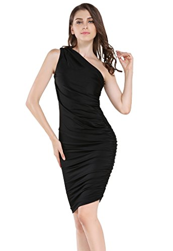 Silk Pleated Dress Sheath (Buenos Ninos Women's Sleeveless Sexy One Shoulder Bodycon Midi Sheath Dress Black L)