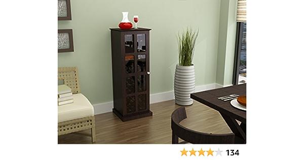 Atlantic Wood Bar Wine Rack Liquor Cabinet with 24 Bottle Holder and Glass Storage, Espresso