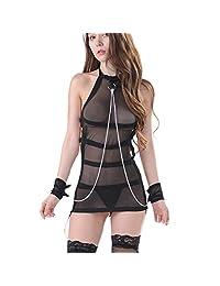 Shuohu Sexy Perspective Cosplay Sexy Sleepwear Women Halter Dress Underwear Nightwear