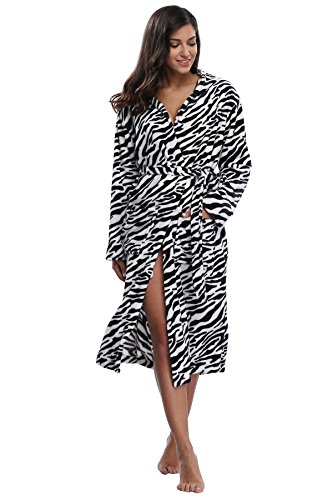 (Kimono Outlet Women's Animal Print Cozy Plush Robe Hooded Bathrobe, Zebras, X-Large)