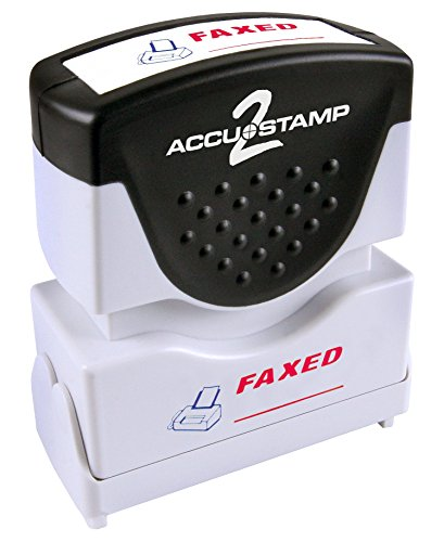 "ACCUSTAMP ""FAXED"" Shutter Stamp with Microban Protection, Pre-Inked Red and Blue, Message Stamp (035533)"